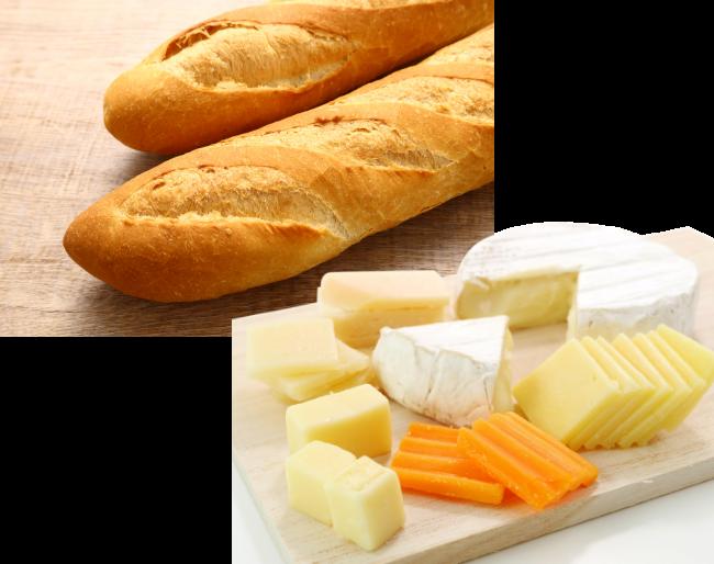 フランスパン、チーズ